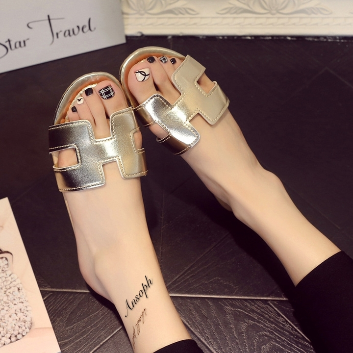 Designer Shoes Women Slides Open Toe H Shape Bran Slippers Summer Slippers Gold gold 35