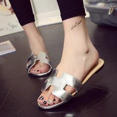 Designer Shoes Women Slides Open Toe H Shape Bran Slippers Summer Slippers Gold silver 35