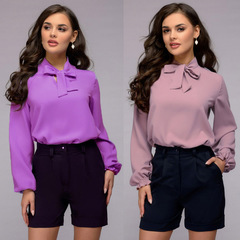 Office Bow Tie Blouse Women Long Sleeve Necktie Shirts Female Elegant Work Shirt Casual Tops New pink s