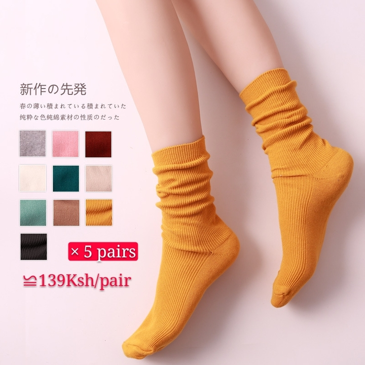 5 Pair Women Thin Basic Socks Daily Socks 10 Solid Colors Comb Cotton Knitted Girls Casual Socks assorted color 5 pair one size
