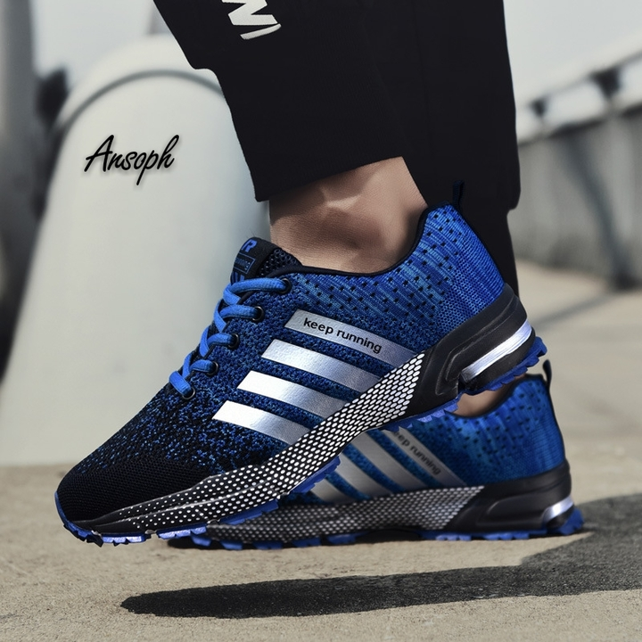 Fashion Men's Sneakers Men Running Shoes Trending Style Sports Shoes Breathable Trainers Sneakers blue 38