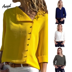 Long Sleeve Women Blouses and Tops Skew Collar Solid Office Shirt Casual Tops Blusas Chemise Femme yellow s