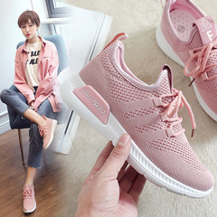 Summer Mesh Sneakers Lightweight Pink Casual Shoes for Women Flat Mesh Sports black 37