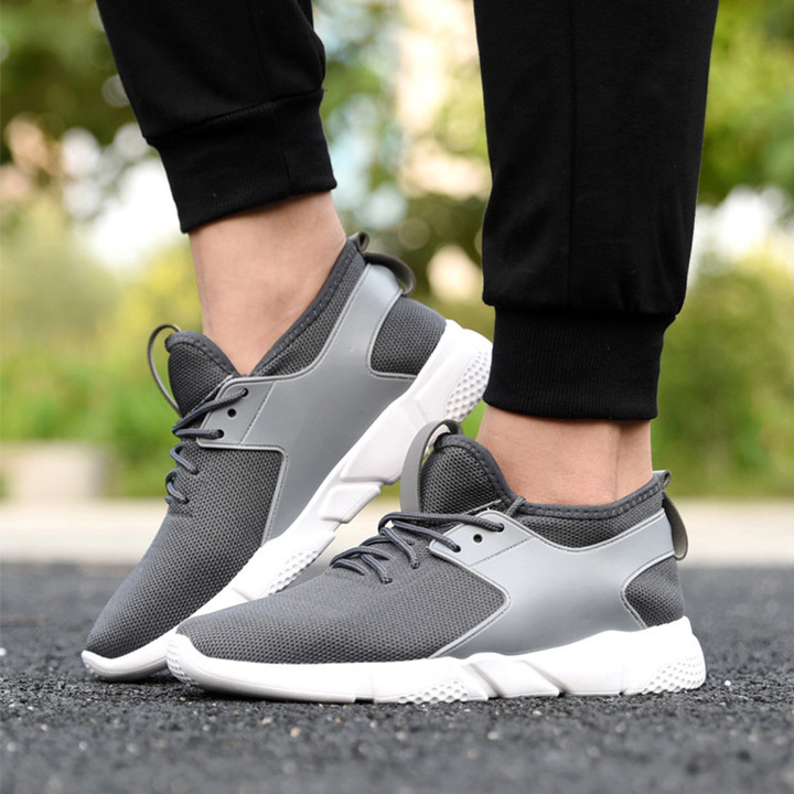 Fashion Unisex Woman Men Outdoor Casual Sports Shoes Couple Shoes Black Breathable Sneakers Grey 44