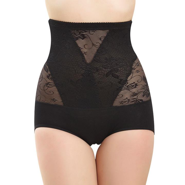 Women Invisible Body Shaper Underwear High Waist Tummy Control Butt Lifter Panty Lace Panties black xl