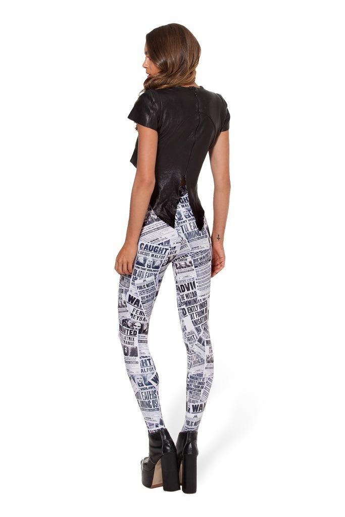 0fb5f1fb8da Black White Highstreet Newspaper Letter Print Streetwear Leggings Summer  Women Sexy Casual Trousers Material  Polyster + Spandex Waist  60~100cm  Thigh 42~46 ...
