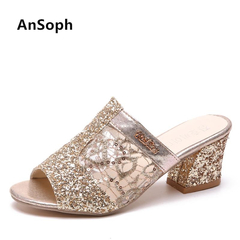 Woman Slippers Bling Outside Slides Gold Heeled Heels Dress Shoes Lace Women Zapatos Mujer Plus Size gold 35