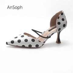 Polka Dot Women Sandals Pointed Toe Women Stripe Heel Ladies Slippers Comfortable Slip On ShoePumps polka dot 35