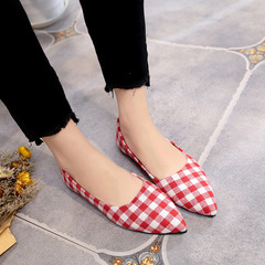 AnSoph Autumn 2018 New Ladies Flat Shoes Casual Women Shoes Comfortable Pointed Toe Flat Work Shoes red 35