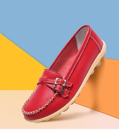AnSoph Soft Leather Loafers Shoes Moccasins Ballerinas Flats Women's Comfortable Shoes Plus Size red 35
