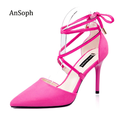 AsSoph 1 Pairs Suede High Heel Pointed Womens Ladies Pointed Court Bandage Smart Party Work Shoes Fuchsia 35