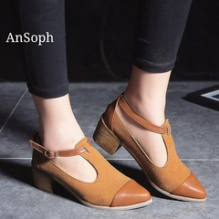 AnSoph 1 Pair Heel Court Shoes Women Ladies T Strap Elegant Work Shoe Causal Comfortable Pump New Carmel 35