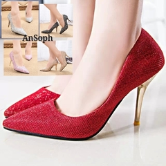 AnSoph 1 Pair Thin Heel Pointed Women Ladies Sexy Squine Court Party Wedding Shoe Eelegant Pump red 35