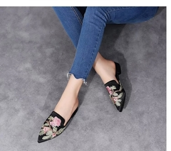AnSoph 1 Pair Pointed Embroider Women Ladies Flat Sandal Casual Shoe Elegant Fashion Plus Size black 35