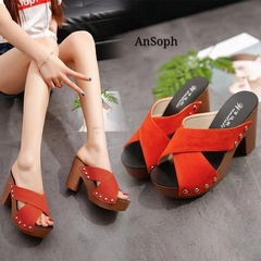 AnSoph 1 Pair Open Toe Women Ladies  Wedge Sandal Rivet 2018 New Sexy Fashion Beach Shoe Casual Shoe red 35