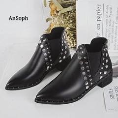 AnSoph 1 Pair PU Faux Suede Women Ladies Martin Boots Rivet Leisure Fashion Show Shoes Boots PU 36