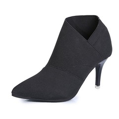 AnSoph 1Pair Block Heel Pump Women Ladies Sweet Sexy Pointed Shoe Party Wedding Femal Smart Fashion black 36