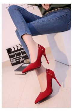 AnSoph 1Pair Sexy Faux Suede Pump Women Ladies High Heel Court Shoe Party Rivet Femal Smart Shoe Red red 35