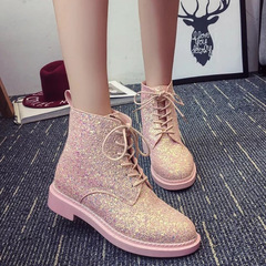 AnSoph 1Pair Martin Boots Women Ladies Bling Glitter Ankle Boot Lace Up Shos New Femal Bootie Pink pink 36