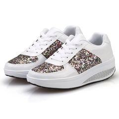 AnSoph 1 Pair Glitter Sneaker Women Ladies Causual Shoes Fashion Breathable Mesh Patent Feminino white 35