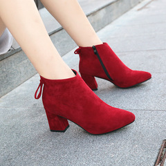 AnSoph 1Pair Ankle Boots Women Ladies Pointed Heel Bootie Shoe Elegant Femal Fashion Shoe Plus Size red 36