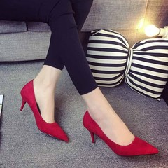 AnSoph 1Pair Thin Heel Pump Women Ladies Sweet Sexy Suede Pointed Shoe Party Femal Smart Shoe red 35