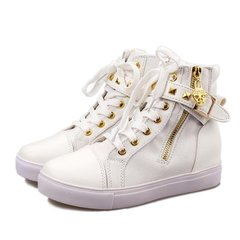 AnSoph 1Pair Ankle Zipper Boots Women Ladies Canvas Sneakers Causal Shoe Femal Lace Up Fashion Shoe white 36