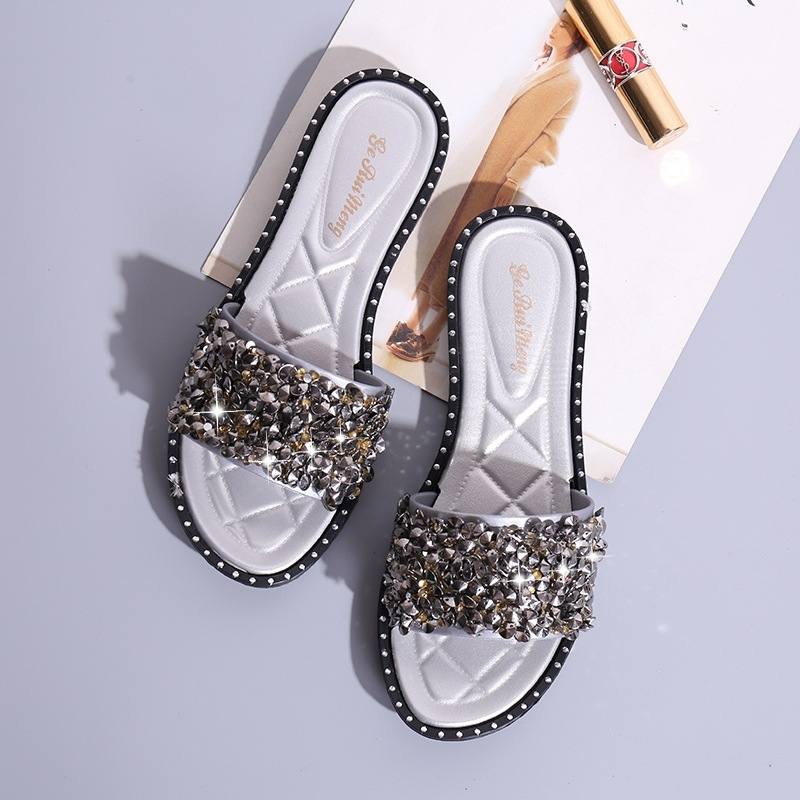 c90da0ad0 AnSoph 1 Pair Bling Slipper Women Ladies Flat H Shape Sandal Casual ...