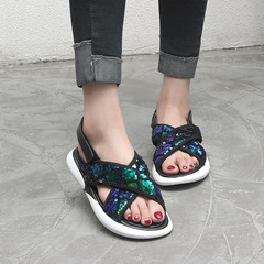AnSoph 1 Pair Cosy Women Ladies Flat Glitter Sandal Casual Shoe Mermaid Fashion Shoes black 35