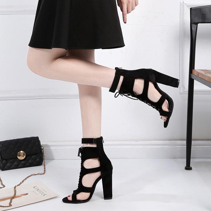 AnSoph 1 Pair Block High Heel Women Ladies Strapy Sexy Sandal Party Shoe Gladiator Plus Size black 35