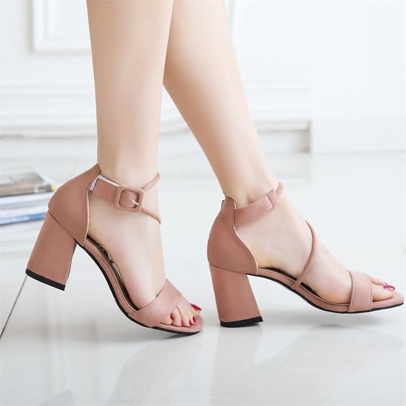 4bd6e8bfadb9 ... Peep Toe Women Ladies Faux Suede Heeled Sandal Comfortable Shoe Elegant  Fashion Ankle pink 38  Product No  10936561. Item specifics  Brand