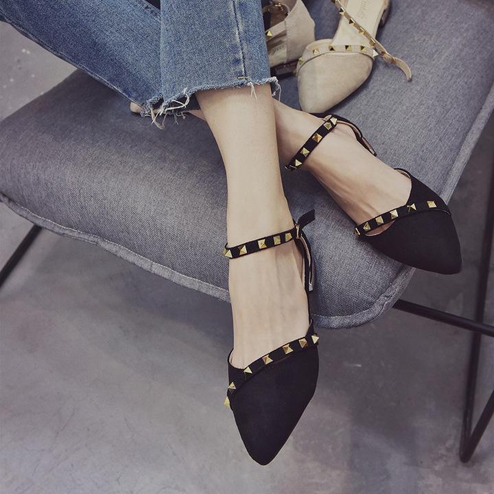 AnSoph 1 Pair Pointed Pump Women Ladies Flat Rivet Casual Ballet Shoe Elegant Fashion Strapy black 35