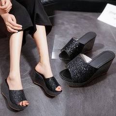 AnSoph 1 Pair Wedge Sandal Women Ladies Heel Bling Sandal Casual Shoe Glitter Fashion Slipper black 35