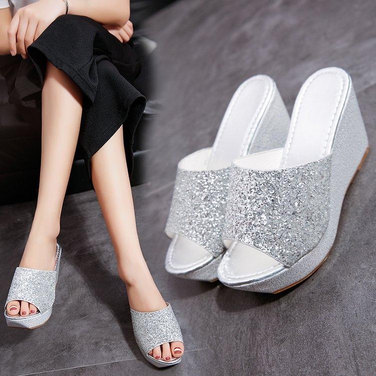 f3e41edbe AnSoph 1 Pair Wedge Sandal Women Ladies Heel Bling Sandal Casual Shoe  Glitter Fashion Slipper