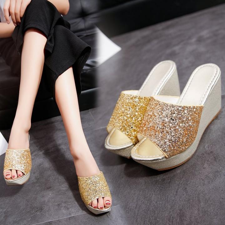 2722e3ccc AnSoph 1 Pair Wedge Sandal Women Ladies Heel Bling Sandal Casual Shoe  Glitter Fashion Slipper gold