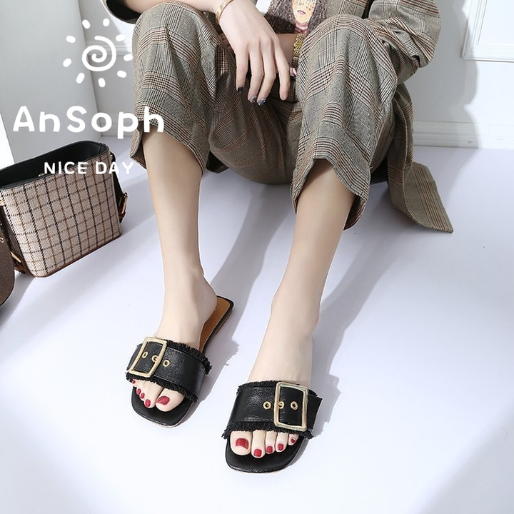 AnSoph 1 Pair Buckle Slipper Women Ladies Flat Flip Flop Sandal Casual Shoe Fashion black 35