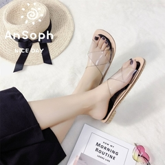 AnSoph 1 Pair Peep Toe Women Ladies Flat Sandal Transparent Cross Shoe Fashion Plus Size black 35