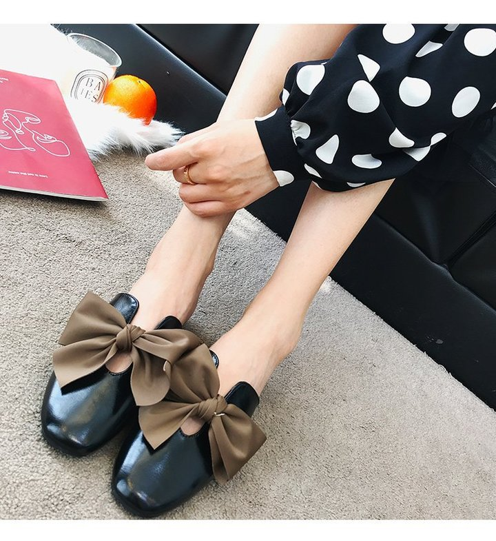 AnSoph 1 Pair Bow Loafer Women Ladie Flat Square Toe Sandal Casual Shoe Elegant Fashion Plus Size black 35