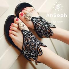 AnSoph 1 Pair Pearl Slipper  Ladies Flat Shinging Sandal Casual Flip Flop Shoe Hallow Out Gladiator black 35