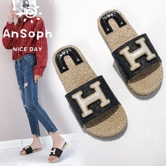 AnSoph 1 Pair Peep Toe Slipper Ladies Flat Sandal Casual H Shape Shoe Fashion Plus Size black 35