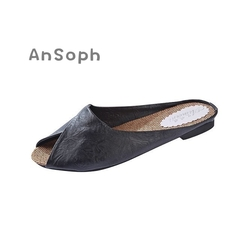 AnSoph 1 Pair Leather Slipper Women Ladies Flat Leopard Sandal Casual Shoe Elegant Fashion Plus Size black 35