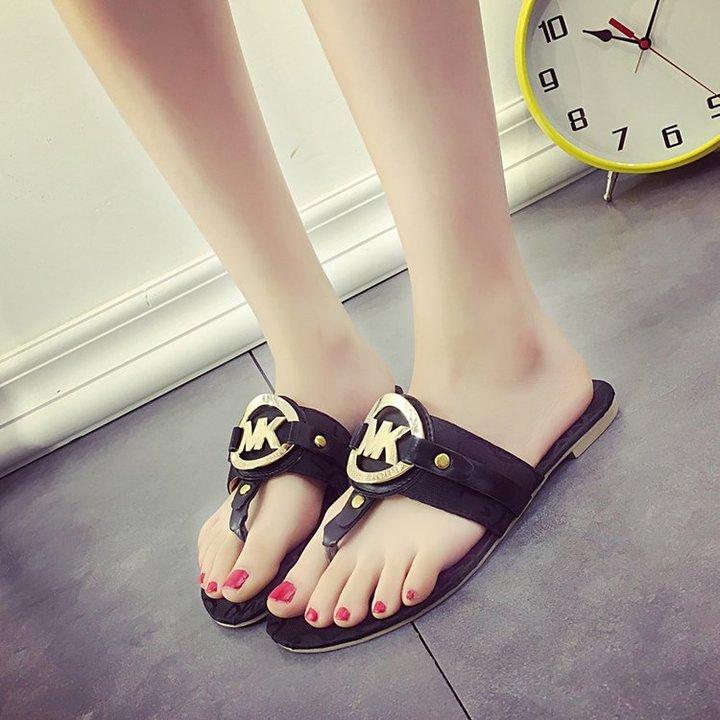 AnSoph 1 Pair Metalic Flip Flop Women Ladies Flat Sandal Casual Shoe Elegant Fashion Slpper black 35