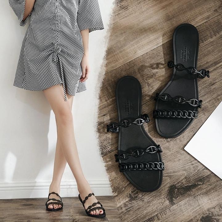 AnSoph 1 Pair Strapy Sandal Women Ladies Flat Sandal Casual Shoe Elegant Summer Colourful Plus Size black 35
