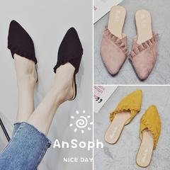 AnSoph 1 Pair Pointed Slipper Women Ladies Flat Faux Suede Sandal Casual Shoe Elegant Fashion Flower yellow 37