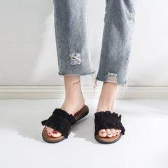 AnSoph 1 Pair Peep Toe Women Ladies Flat Sandal Casual Shoe Elegant Fashion Plus Size black 35