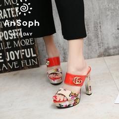 AnSoph 1 Pair Wedge Sandal Women Ladies Heel Floral Sandal Sexy Shoe Elegant Fashion Slipper red 35