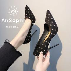 AnSoph 1 Pair Pointed Pump Women Ladies Heel Fabric Rivet Court Pump Shoe Working Shoe Elegant black 35