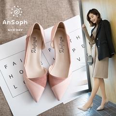 AnSoph 1 Pair Pointed Pump Women Ladies Heel Patchwork Court Elegant Shoe Working Party Fashion Pump pink high heel 35
