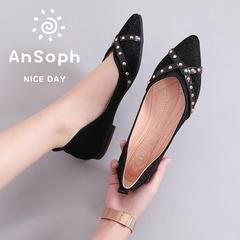 AnSoph 1 Pair Pointed Ballerinas Women Ladies Flat Court Shoe Working Rivet Shoe Elegant Fashion black 35