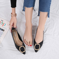 AnSoph 1 Pair Pointed Pump Women Ladies Flat Ballerinas Buckle Shoe Elegant Working  Court Shoe black 35